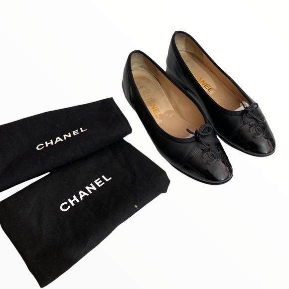Chanel Black Leather Cap Toe Logo Slip On Bow Ballet Flats   36